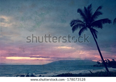 Vintage take on a tropical sunset on Maui in Hawaii - stock photo
