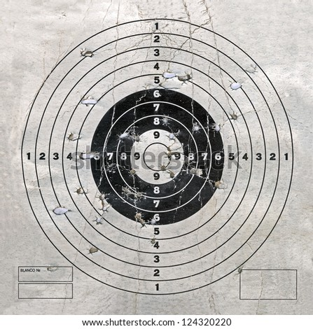 vintage target with hole heap, military details - stock photo