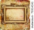 vintage tattered paper with picture frame - stock photo