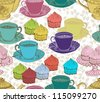 vintage tea background. seamless pattern for design - stock photo