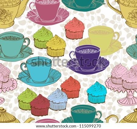 vintage tea background. seamless pattern for design - stock photo