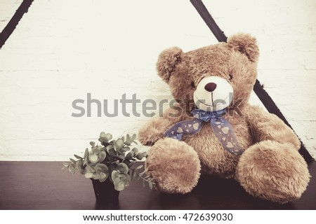 Vintage teddy bear a with white brick wall background.