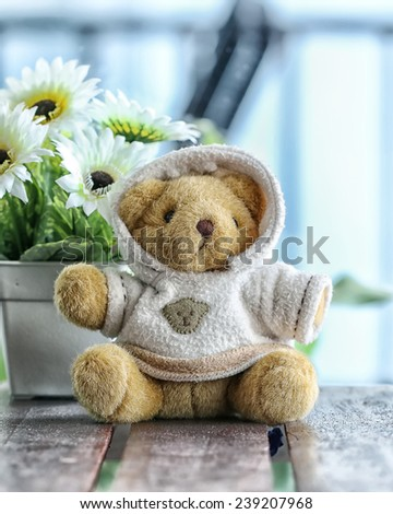 Vintage  teddy bear In sweaters - stock photo