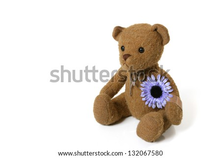 Vintage Teddy Bear with Purple Flower - stock photo