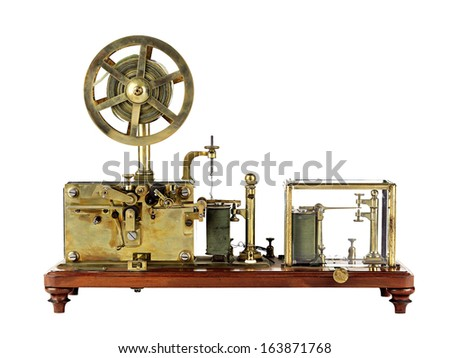vintage telegraph machine - stock photo