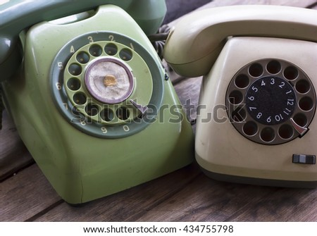 vintage telephone and selective focus  - stock photo