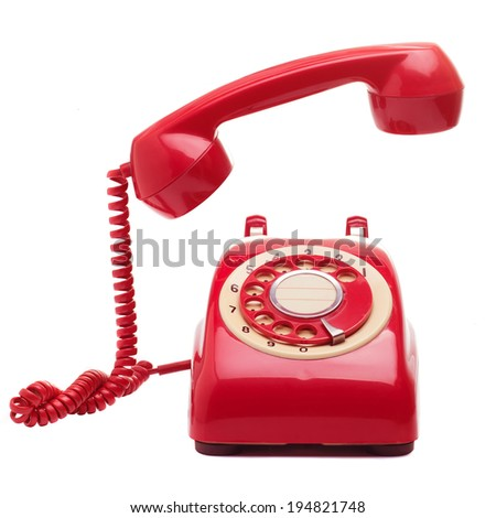Vintage telephone Isolated include clipping path - stock photo