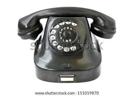 Vintage telephone isolated on white background. - stock photo