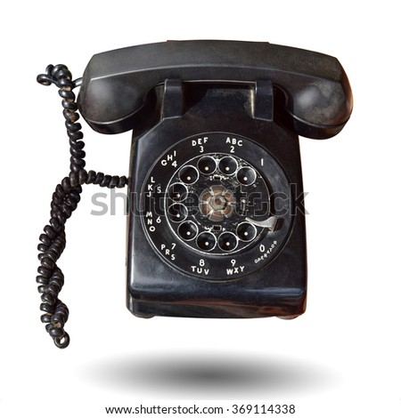 Vintage telephone isolated on white background. This has clipping path. - stock photo