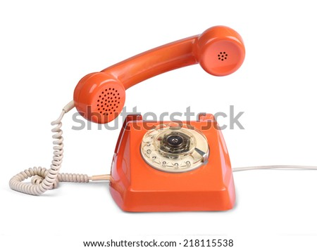Vintage telephone of with handset lifted, isolated on white - stock photo
