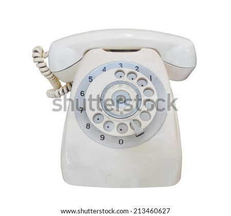 Vintage telephone on white background