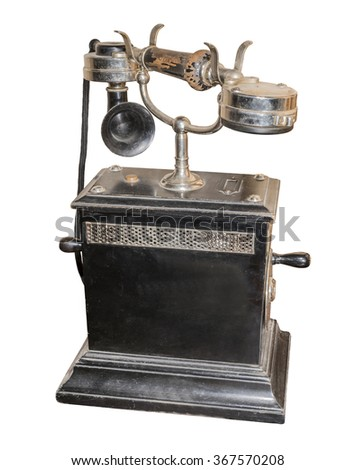 Vintage Telephone Table, 1920. Is isolated on white - stock photo