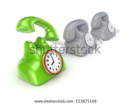 Vintage telephone with round watch.Isolated on white background.3d rendered.
