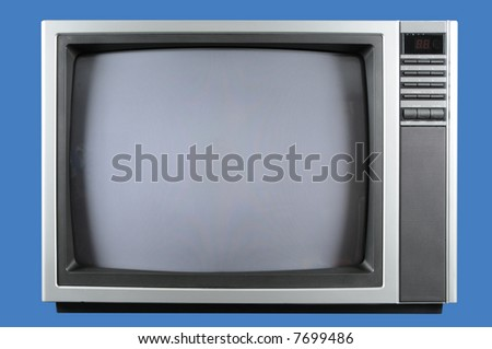 Vintage television isolated on a blue background - stock photo