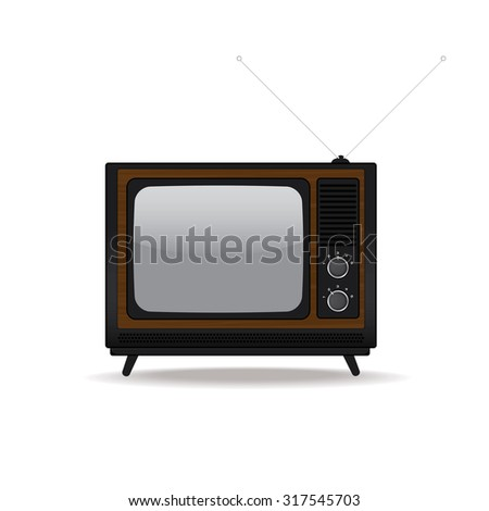 Vintage television isolated on white background