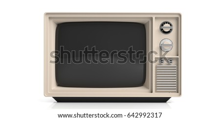 Vintage television isolated on white background. 3d illustration