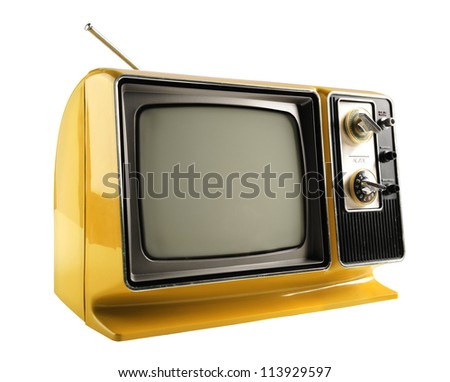 Vintage Television isolated over white background