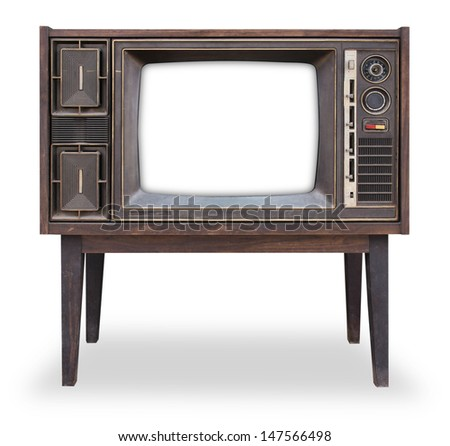 Vintage television isolated with clipping path - stock photo