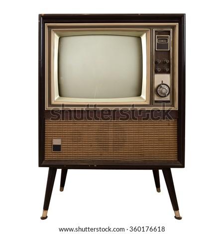 Vintage television - old TV isolate on white ,retro technology - stock photo