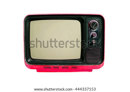Vintage television - old TV isolate on white, retro technology. Clipping path included.