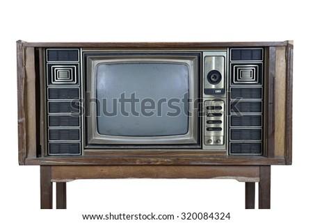 Vintage television on white background - stock photo