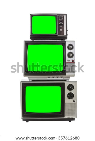 Vintage television tower isolated on white with chroma key green screens. - stock photo
