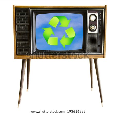 vintage television with blue sky and recycle sign, clipping path. eco friendly concept. - stock photo