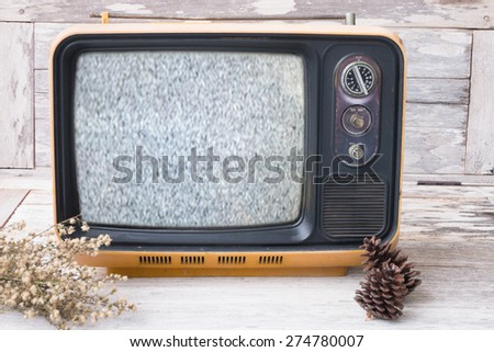 Vintage television with retro filter effect