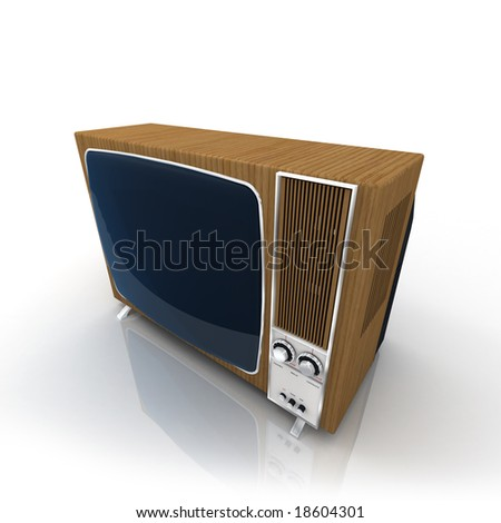 Vintage Television with wood-panelling - stock photo