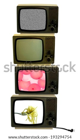 Vintage televisions with cut out screens - stock photo