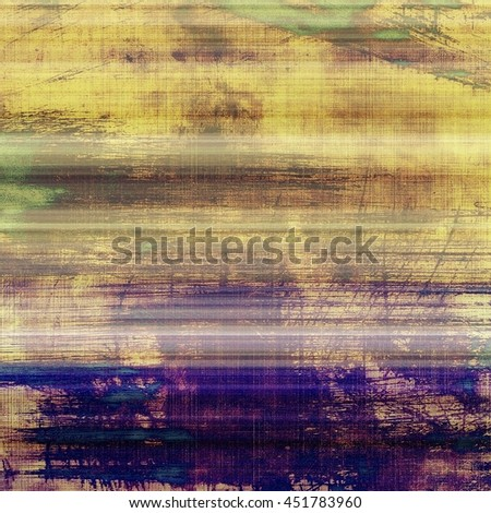 Vintage template or background with grungy texture, antique decor and different color patterns: yellow (beige); brown; green; blue; purple (violet) - stock photo