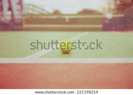 Vintage Tennis ball on tennis court paper picture
