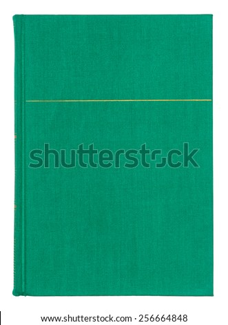 Vintage textile green book cover with gold pattern isolated on white background