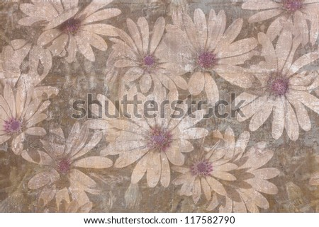 Vintage textured background decorated with daisies - stock photo