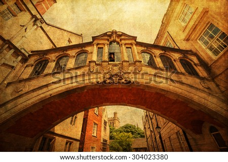 vintage textured picture of the Bridge of Sighs in Oxford, England - stock photo