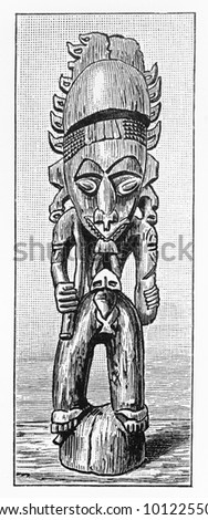 Vintage 19th century Architectural element with an ancestor, Papua New Guinea -  Picture from Meyers Lexicon books collection (written in German language) published in 1908, Germany.