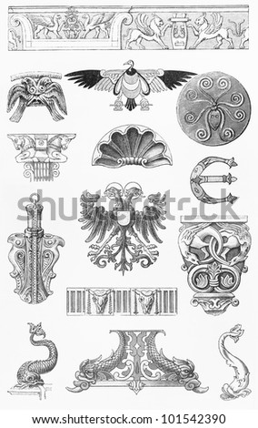 Vintage 19th century drawing of animal ornaments - Picture from Meyers Lexicon books collection (written in German language) published in 1908, Germany. - stock photo