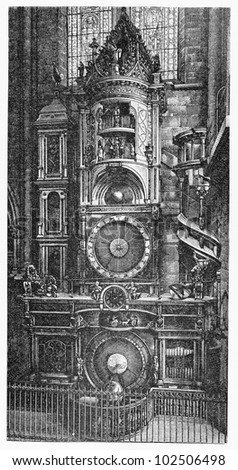 Vintage 19th century old drawing of Strasbourg astronomical clock - Picture from Meyers Lexikon book (written in German language) published in 1908 Leipzig - Germany.