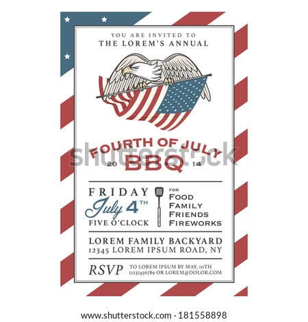 Vintage 4th of July Independence Day barbecue invitation - stock photo