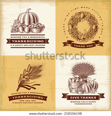 Vintage Thanksgiving labels set - stock photo