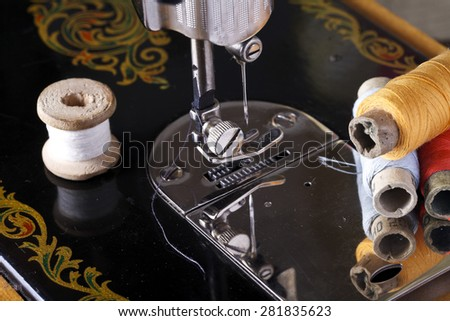 vintage the sewing machine close up