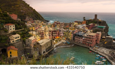 Vintage themes of Scenic view of colorful houses in Cinque terre village Vernazza - stock photo