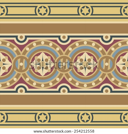 Vintage tile border set in ocher, brown, black, red, blue colors. Consists of one wide ribbon with flower in circles and two narrow ribbons with stars and stripes. - stock photo