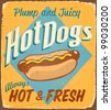 Vintage tin sign - Hot Dogs - Raster version - stock photo