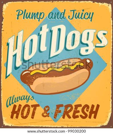 Vintage tin sign - Hot Dogs - Raster version - stock photo