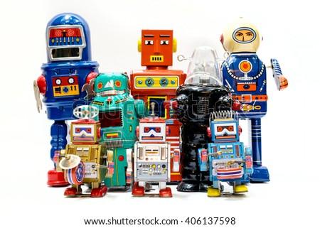 Vintage tin toy robot - stock photo