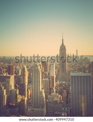 Vintage tone cityscape of New York City - stock photo