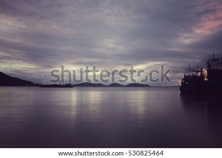 vintage tone color,color of sky and water on sunset in lake