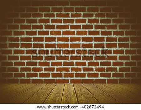 Vintage tone of brick wall background with wooden under