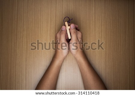 Vintage tone of Praying Hands - stock photo